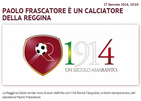 Calciomercato Reggina: Preso Frascatore dalla Roma
