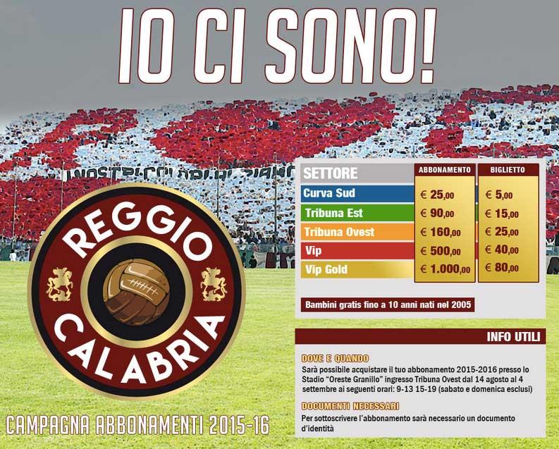 """AS Reggina: Abbonamenti in vendita all'arena """"Ciccio Franco"""" sul lungomare di Reggio"""