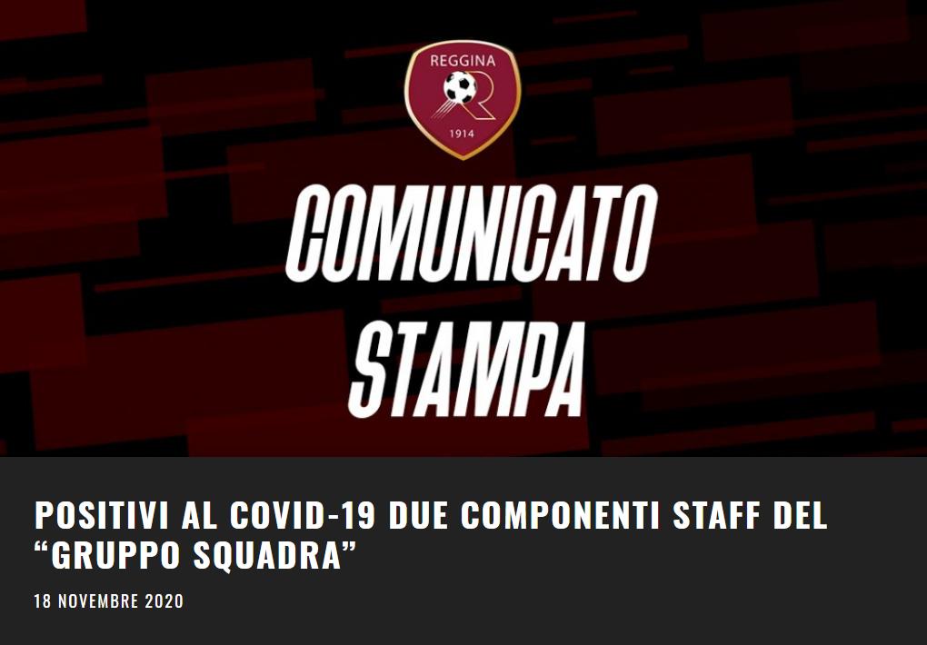Comunicato COVID Reggina